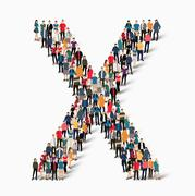 group  people  shape letter X vector - stock illustration