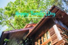 Happy family day message on wooden tree house background Stock Photos