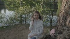 Girl Talking On The Phone. Stock Footage