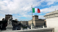 Italian flag seen from the Altar of the Fatherland (Altare della Patria), Rome, Stock Footage