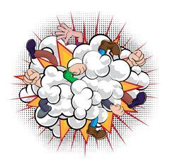Cartoon Comic Book Fight Dust Cloud Stock Illustration