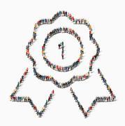 people shape reward icon - stock illustration