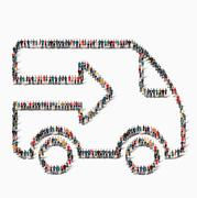 people  shape  car transportation icon - stock illustration