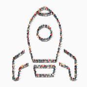People shape  missile icon Stock Illustration