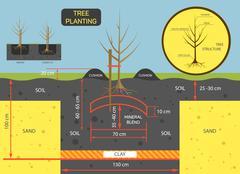 Planting tree concept vector illustration. Prepare soil for plant - stock illustration
