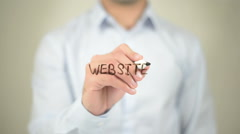 Website,  Man writing on transparent screen Stock Footage