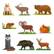 Mammal animals vector set in flat style design. Zoo cartoon icons collection - stock illustration