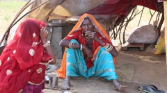 Indian women attended the annual Pushkar Camel Mela. India Stock Footage