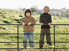 Two young boys on gate in countryside - stock photo