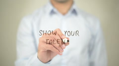 Show Your Talent,  Man writing on transparent screen Stock Footage