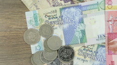 Banknotes and coins of Seychelles Stock Footage