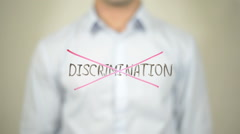 No Discrimination,,  Man writing on transparent screen Stock Footage