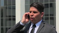 Angry Business Man Using Cell Phone Stock Footage