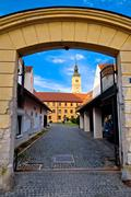 Old stees of baroque town of Varazdin - stock photo