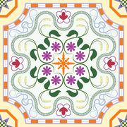 Seamless pattern with chinese ornament floral - stock illustration