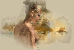 Digital watercolor painting of a naked woman against sea - stock illustration