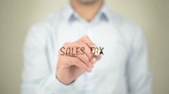 Sales Tax,  Man writing on transparent screen - stock footage
