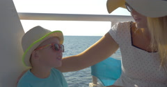 Mother and son traveling by ship Stock Footage