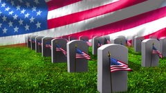 Grave stones  and  US  flag Stock Footage