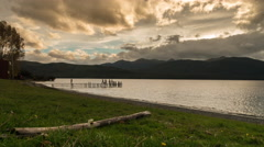 Sunset Timelapse at a Jetty by Lake Te Anau Stock Footage