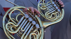 French Horn outdoor concert Stock Footage