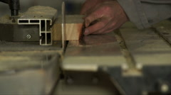 Piece of wood in a process of cutting. - stock footage
