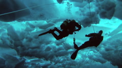 Unique scuba ice dive in Arctic at the geographic North Pole. Stock Footage