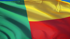 Benin flag in slow motion seamlessly looped with alpha Stock Footage