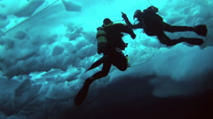 Divers under water on a background of a block of ice at the North Pole in the Ar Stock Footage