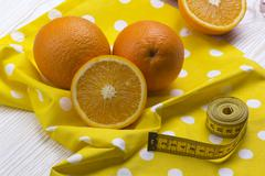 Oranges with measurement - stock photo