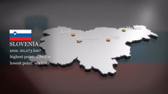 3D animated Map of Slovenia Stock Footage