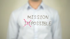 Mission Possible,  Man writing on transparent screen Stock Footage