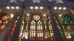 Sagrada Familia Catholic basilica in Barcellona, Catalonia Spain - stock footage