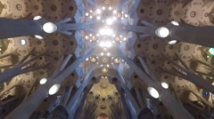 Sagrada Familia Catholic basilica in Barcellona, Catalonia Spain Stock Footage