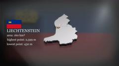 3D animated Map of Liechtenstein Stock Footage