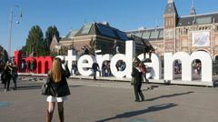 Time Lapse - Amsterdam Sign & People - Rijksmuseum - Amsterdam - stock footage