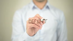 Deficit,  Man writing on transparent screen Stock Footage