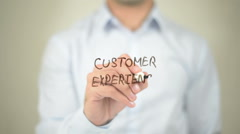 Customer Experience,  Man writing on transparent screen Stock Footage