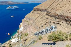 Fira. The cable car to the top - stock photo