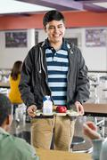 Male school student at lunch Stock Photos