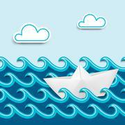 Nautical cartoon scenery - stock illustration