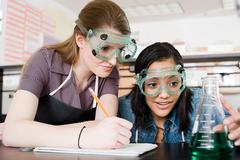 Girls in science class Stock Photos
