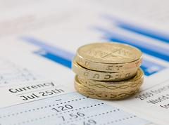 One pound coins and and financial papers Stock Photos