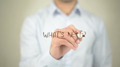 What's Next ? ,  Man writing on transparent screen Stock Footage