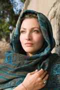 Young woman wearing headscarf Stock Photos
