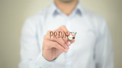 Privacy,  Man writing on transparent screen - stock footage