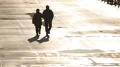 Migrants Refugees Pair Freely Walking Stock Footage