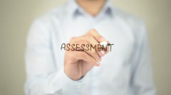 Assessment,  Man writing on transparent screen Stock Footage