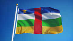 Central African Republic flag in slow motion seamlessly looped with alpha - stock footage