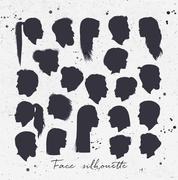 Face silhouettes Stock Illustration